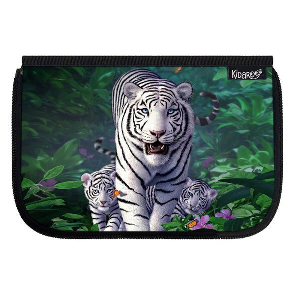 Kidaroo White Tiger & Cubs School Lunch Box Flap