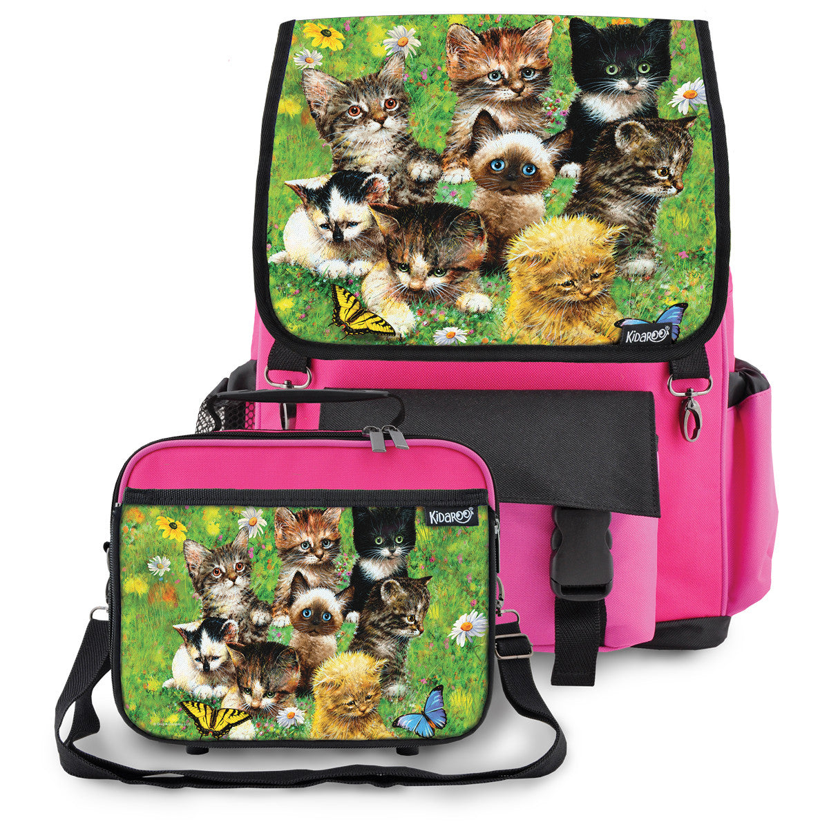 Kidaroo Pink Cute Little Kittens School Backpack & Lunchbox Set for Boys, Girls, Kids