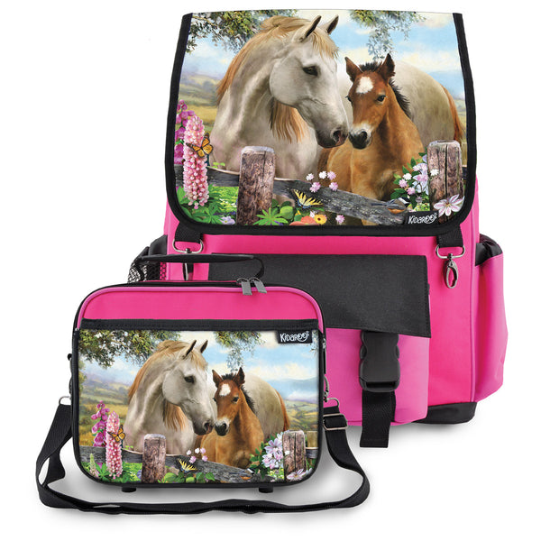 Kidaroo Pink Summer Meadow Horses School Backpack & Lunchbox Set for Boys, Girls, Kids