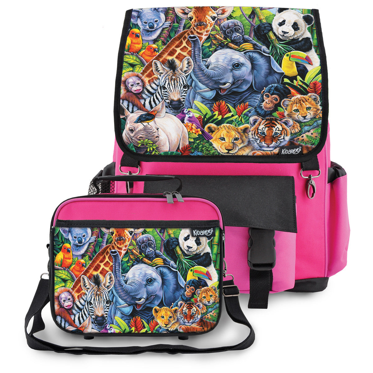 Kidaroo Pink Jungle Babies School Backpack & Lunchbox Set for Boys, Girls, Kids
