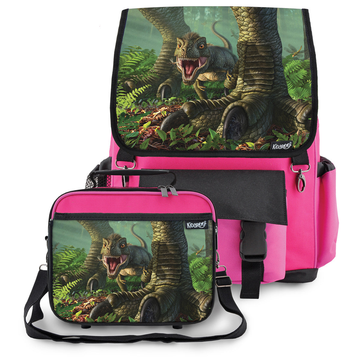 Kidaroo Pink Baby Wee Rex Dinosaur School Backpack & Lunchbox Set for Boys, Girls, Kids