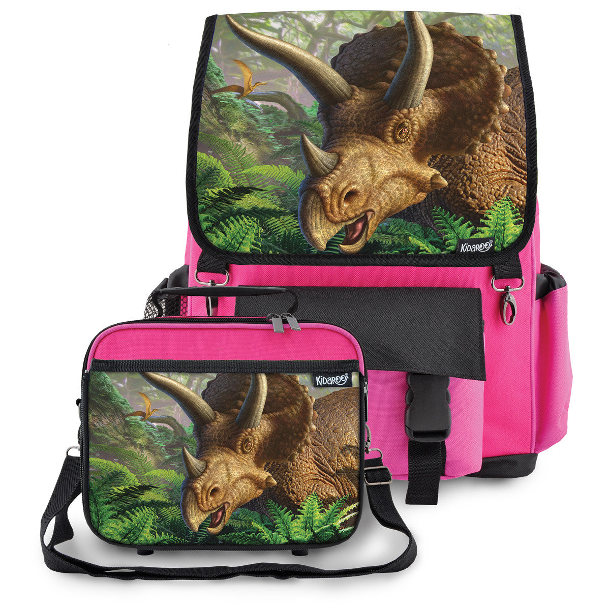 Kidaroo Pink Triceratops Dinosaur School Backpack & Lunchbox Set for Boys, Girls, Kids