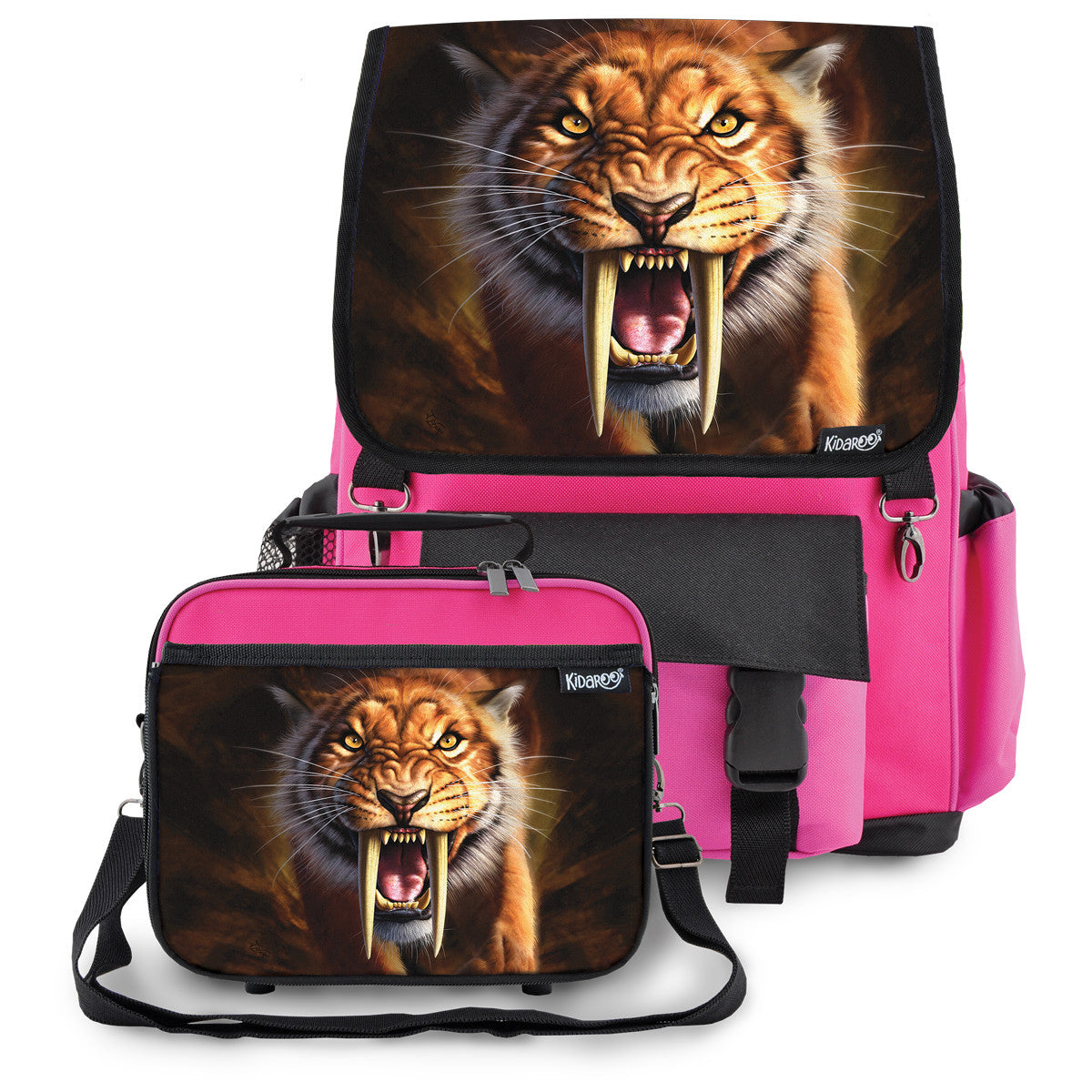Kidaroo Pink Saber Tooth Tiger School Backpack & Lunchbox Set for Boys, Girls, Kids