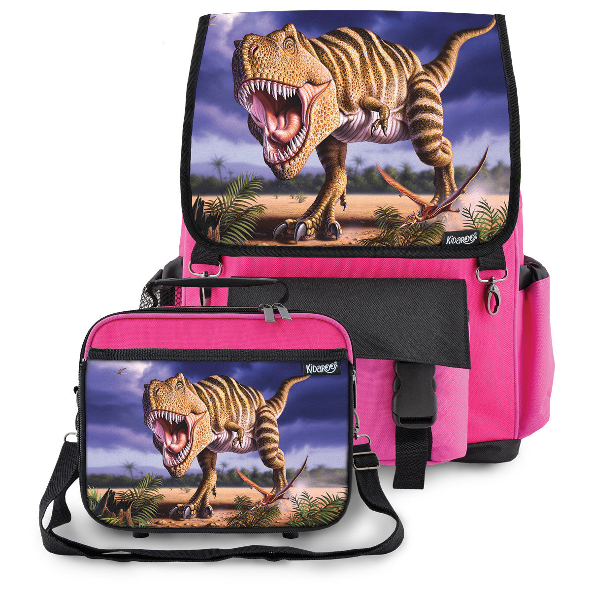 Kidaroo Pink Stripped T-Rex Dinosaur Backpack & Lunchbox for Boys, Girls, Kids