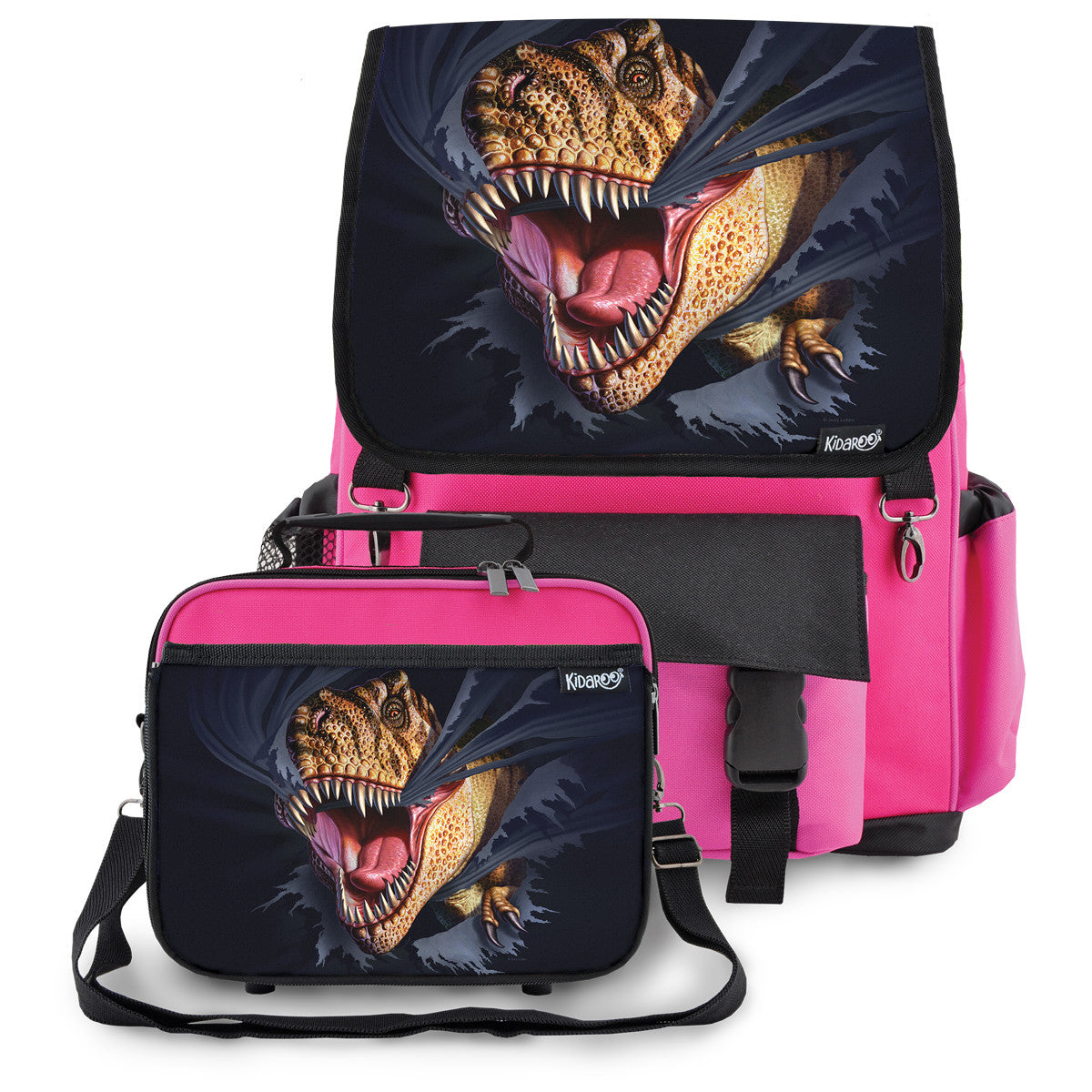 Kidaroo Pink Tearing T-Rex Dinosaur School Backpack & Lunchbox Set for Boys, Girls, Kids