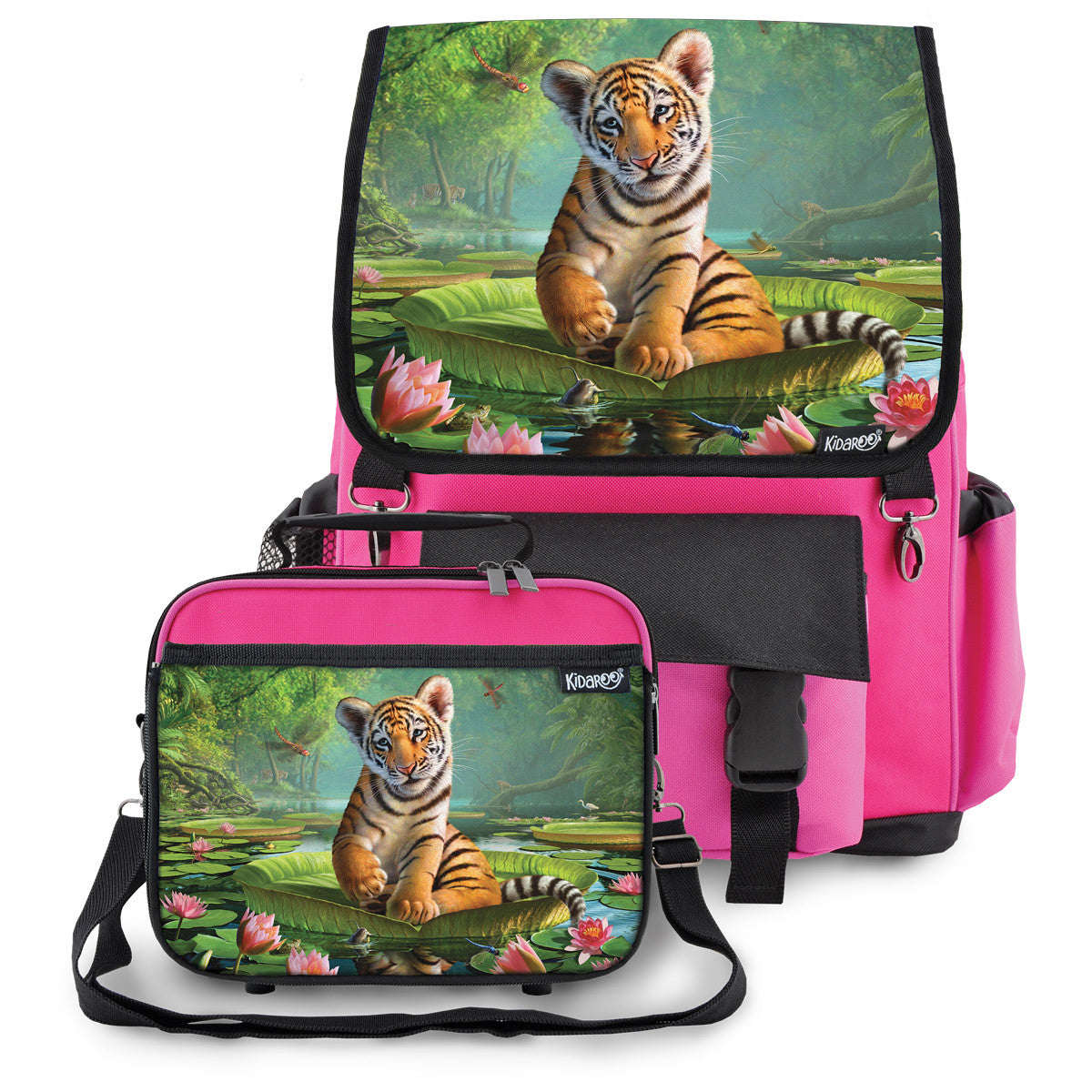 Kidaroo Pink Tiger Cub On Lily Pad School Backpack & Lunchbox Set for Boys, Girls, Kids