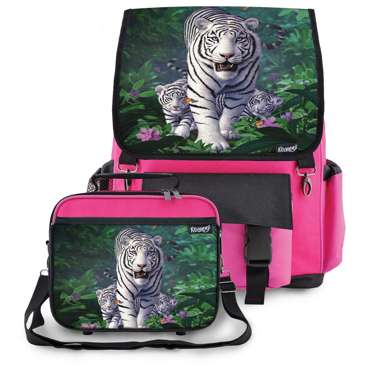 Kidaroo Pink White Tiger & Cubs School Backpack & Lunchbox Set for Boys, Girls, Kids