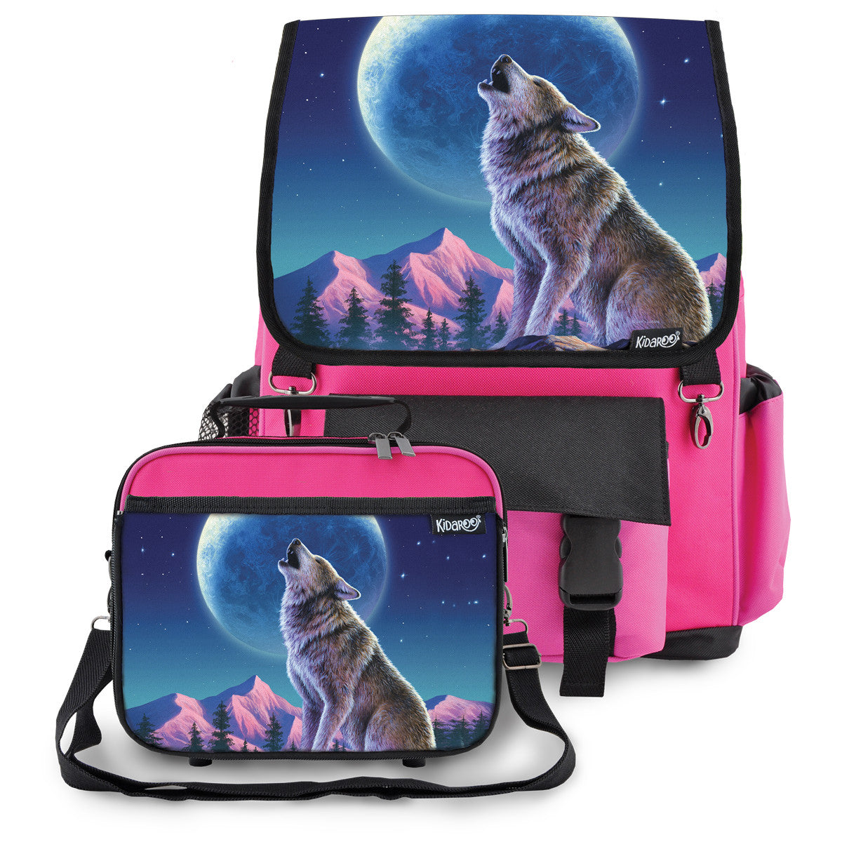 Kidaroo Pink Wolf Moon Howl School Backpack & Lunchbox Set for Boys, Girls, Kids