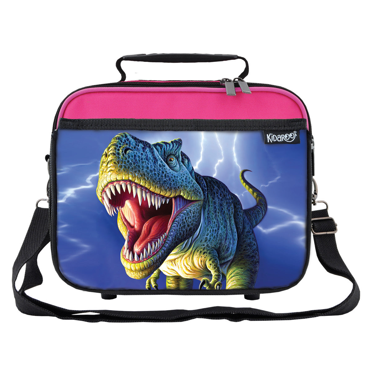 Kidaroo Pink Lightning Rex Dinosaur School Lunchbox Tote for Boys, Girls