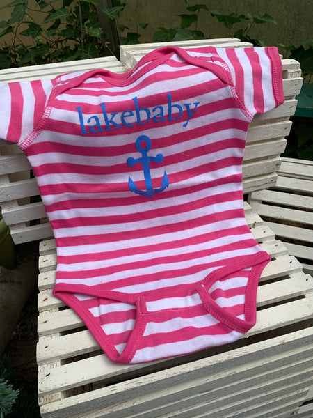 Lakebaby Girl Stripe Onesie