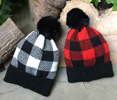 Buffalo Check Pom Pom Hats