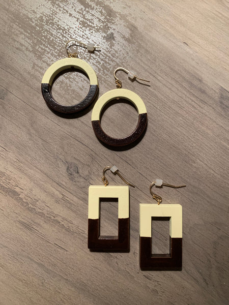 Two Toned Wood Earrings