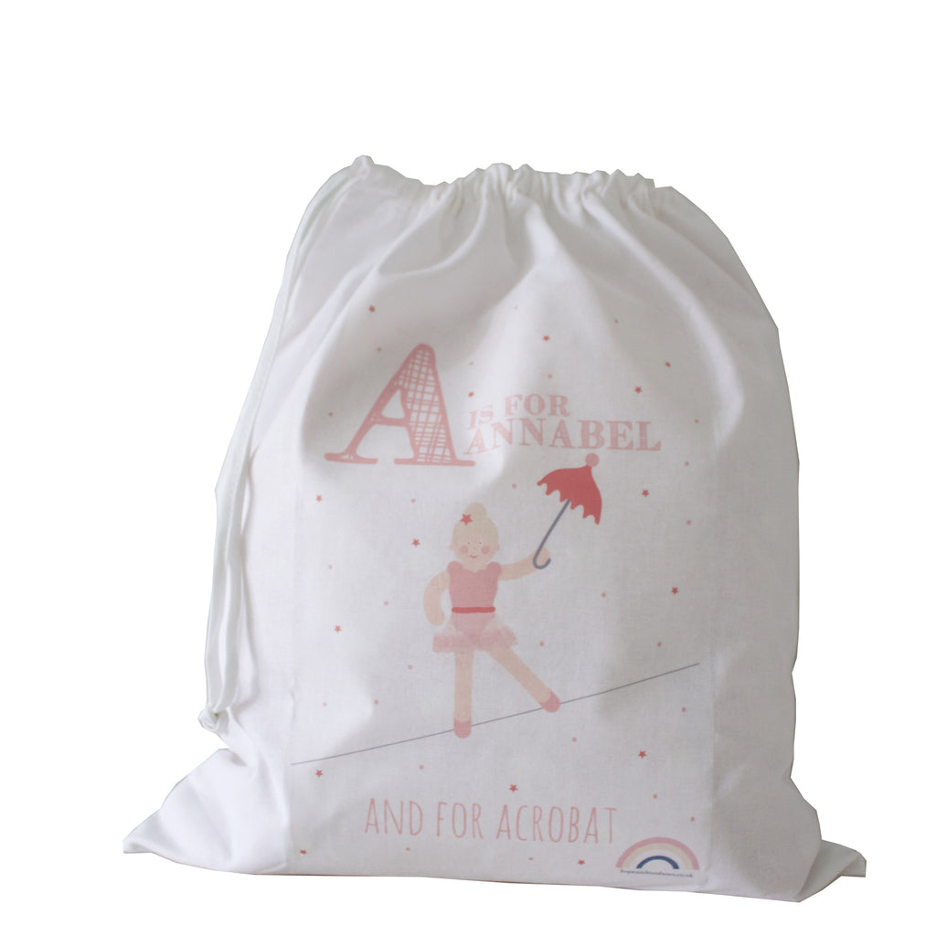 Personalised Drawstring Bag - White