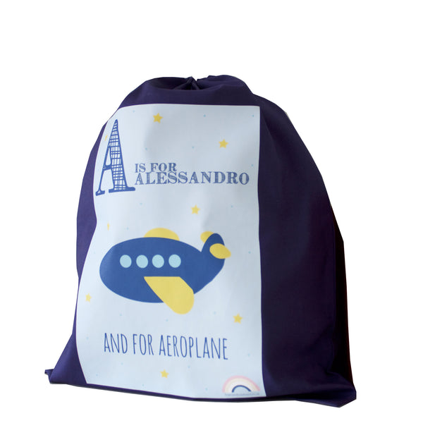 Personalised Drawstring Bag - Navy
