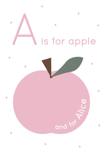 Apple Personalised Nursery Print