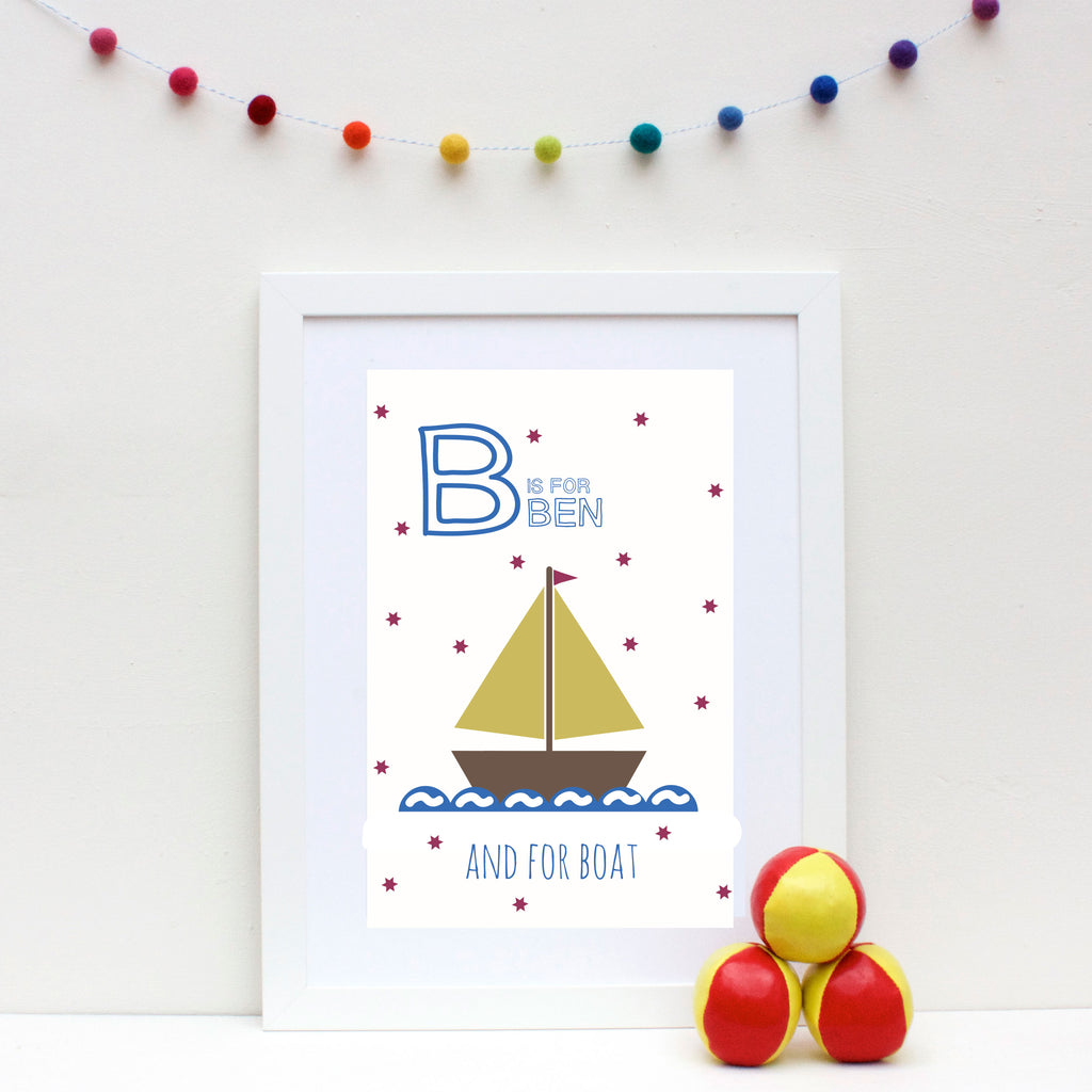 Boat Personalised Alphabet Name Print