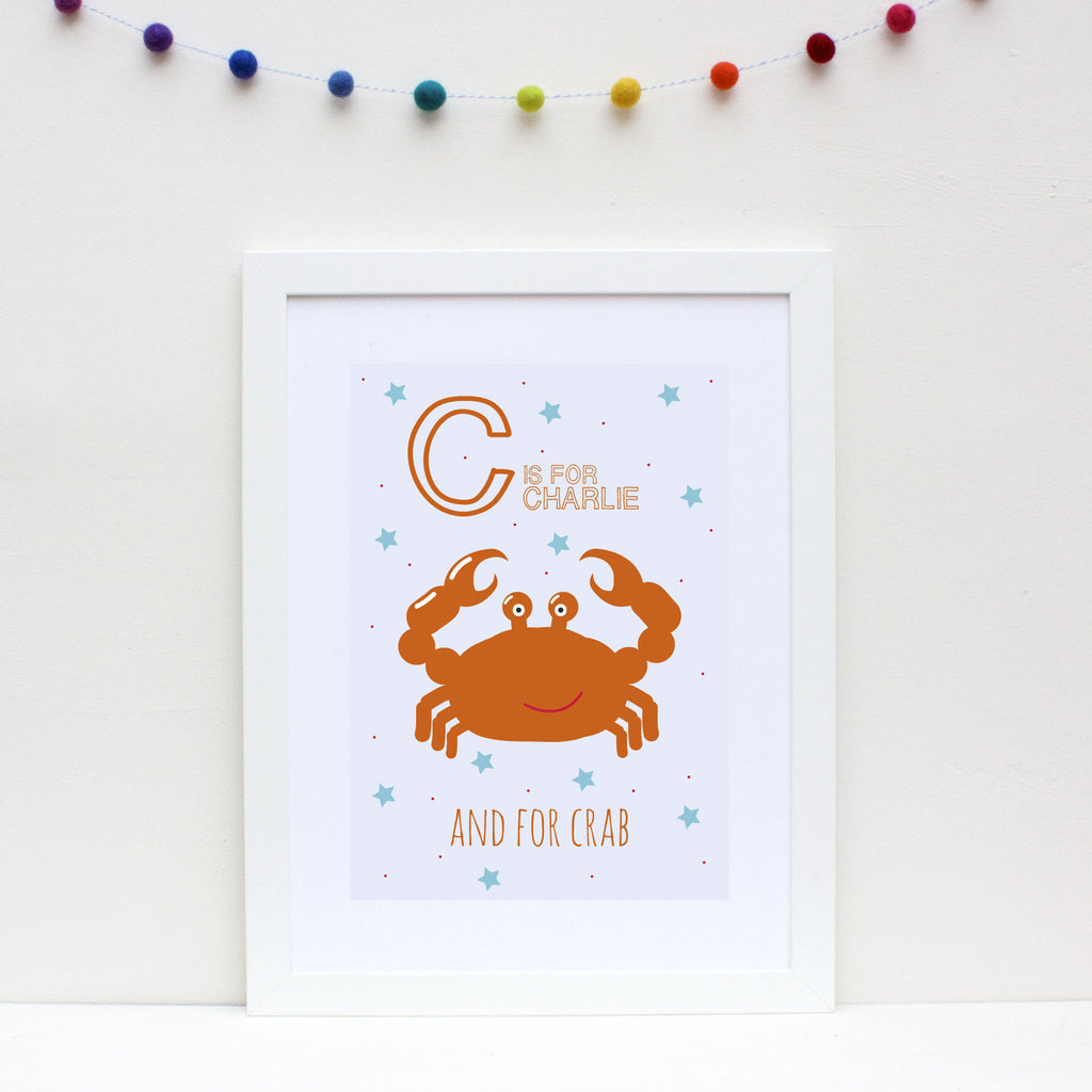 Crab Personalised Alphabet Name Print