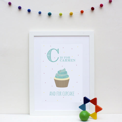 Cupcake Personalised Alphabet Name Print