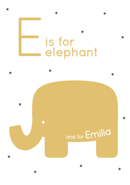 Elephant Personalised Print