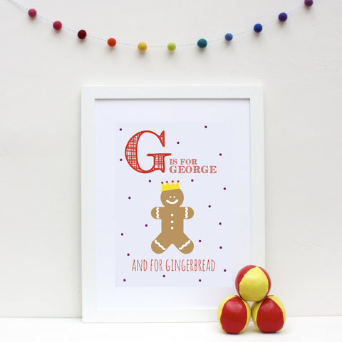 Gingerbread Personalised Alphabet Name Print