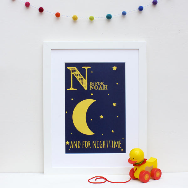 Nighttime Personalised Alphabet Name Print