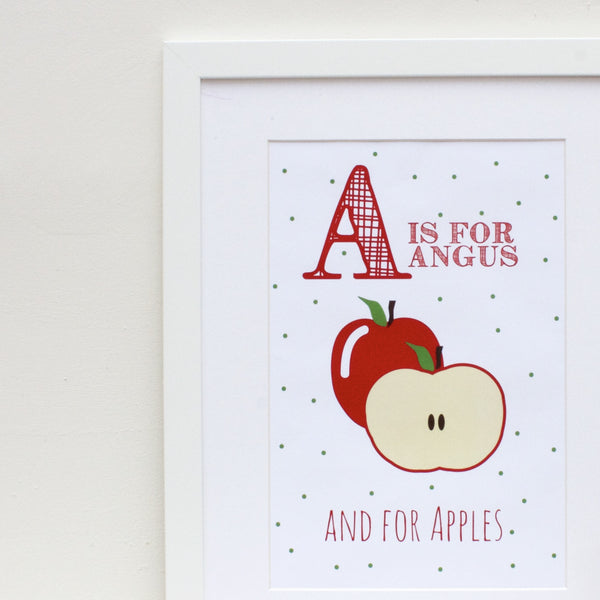 Apples Personalised Alphabet Name Print