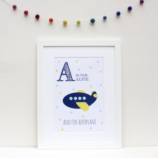 Aeroplane Personalised Alphabet Name Print