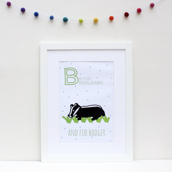 Badger Personalised Alphabet Name Print