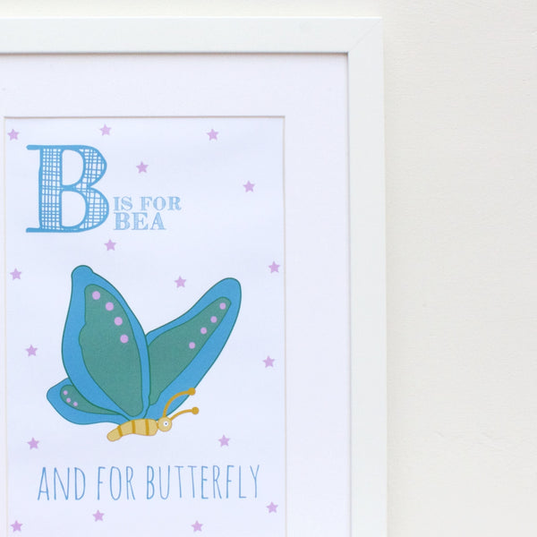 Butterfly Personalised Alphabet Name Print