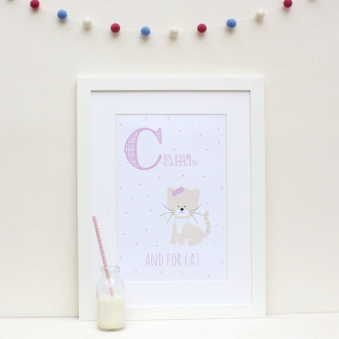Cat Personalised Alphabet Name Print