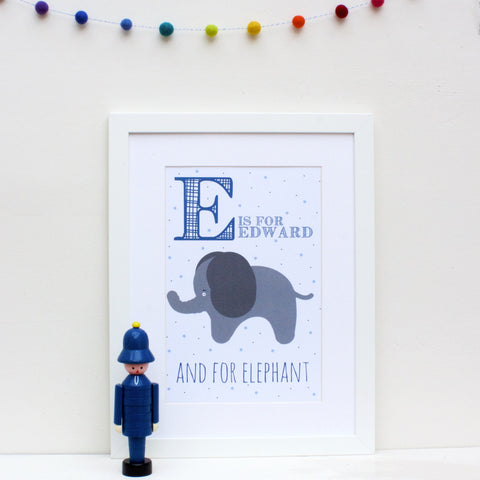 Elephant Personalised Alphabet Name Print