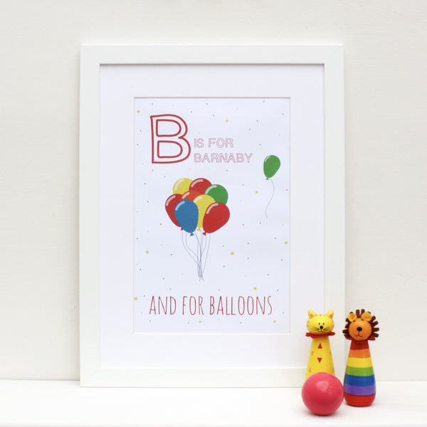 Balloons Personalised Alphabet Name Print