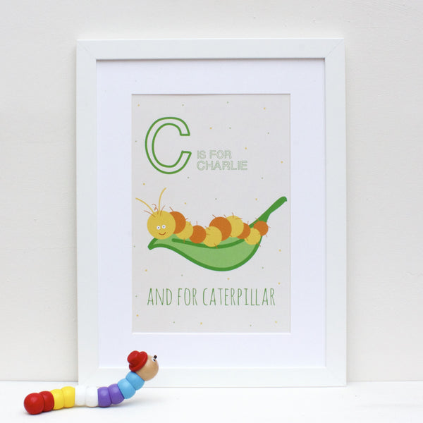 Caterpillar Personalised Alphabet Name Print