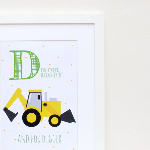 Digger Personalised Alphabet Name Print