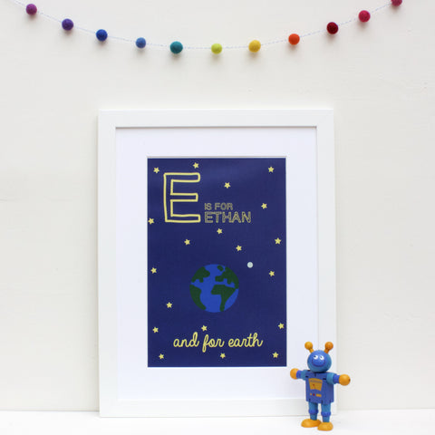 Earth Personalised Alphabet Name Print