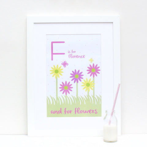 Flowers Personalised Alphabet Name Print