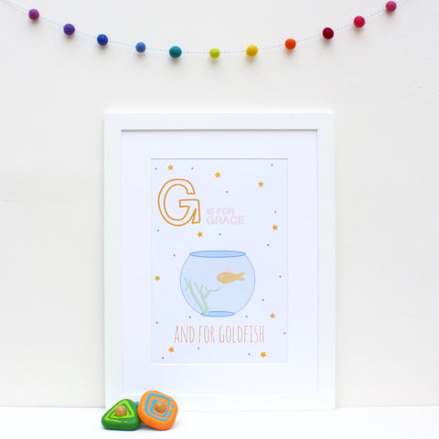 Goldfish Personalised Alphabet Name Print