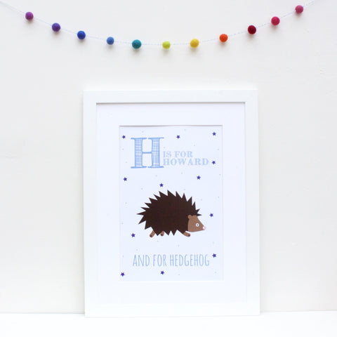 Hedgehog Personalised Alphabet Name Print