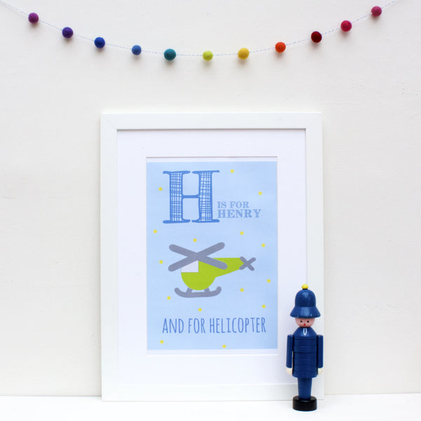 Helicopter Personalised Alphabet Name Print