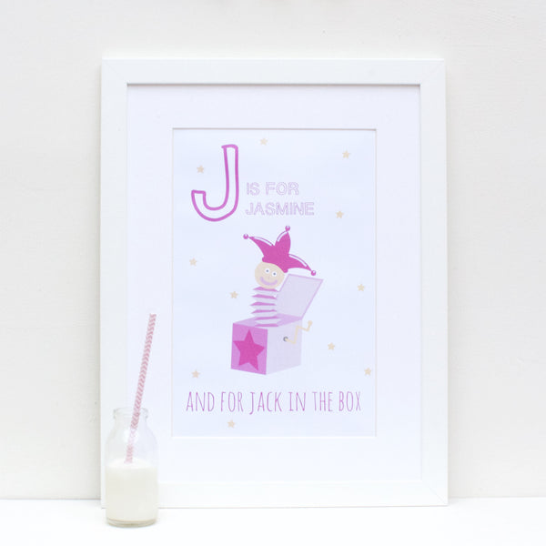 Jack in the Box Personalised Alphabet Name Print