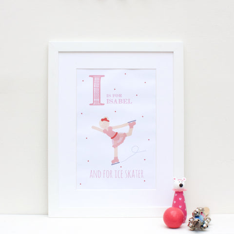 Ice Skater Personalised Alphabet Name Print