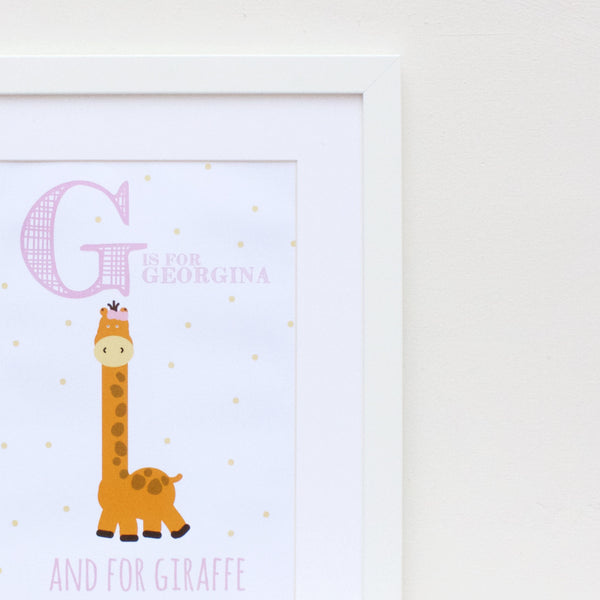 Giraffe Personalised Alphabet Name Print