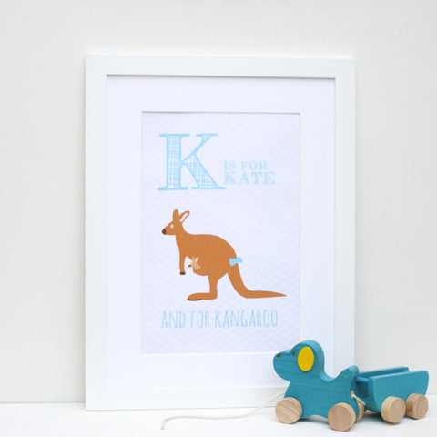 Kangaroo Personalised Alphabet Name Print