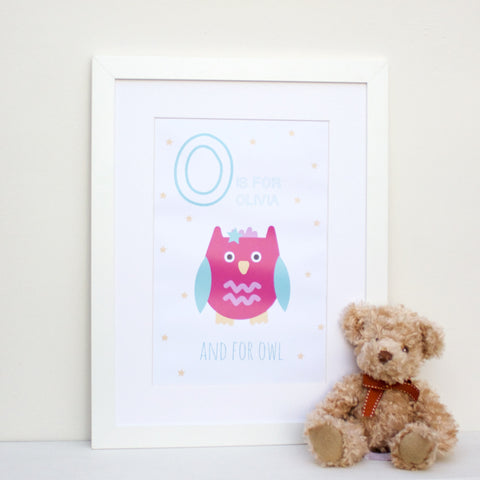 Owl Personalised Alphabet Name Print