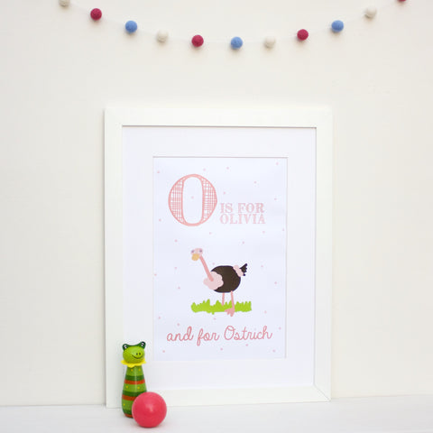 Ostrich Personalised Alphabet Name Print