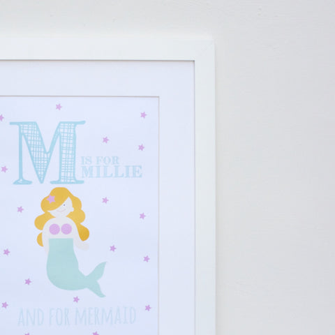 Mermaid Personalised Alphabet Name Print