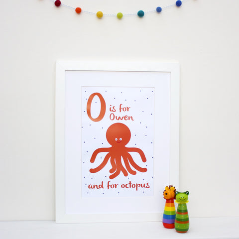 Octopus Personalised Alphabet Name Print