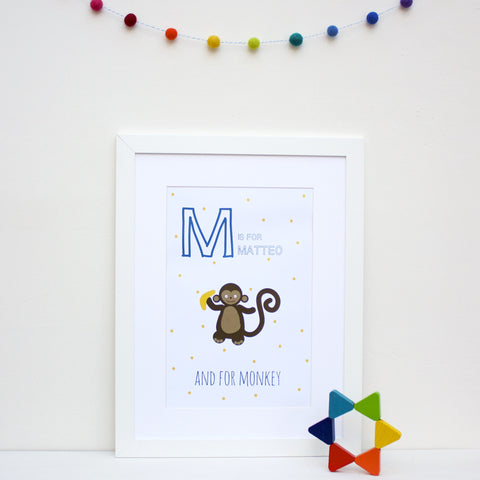 Monkey Personalised Alphabet Name Print
