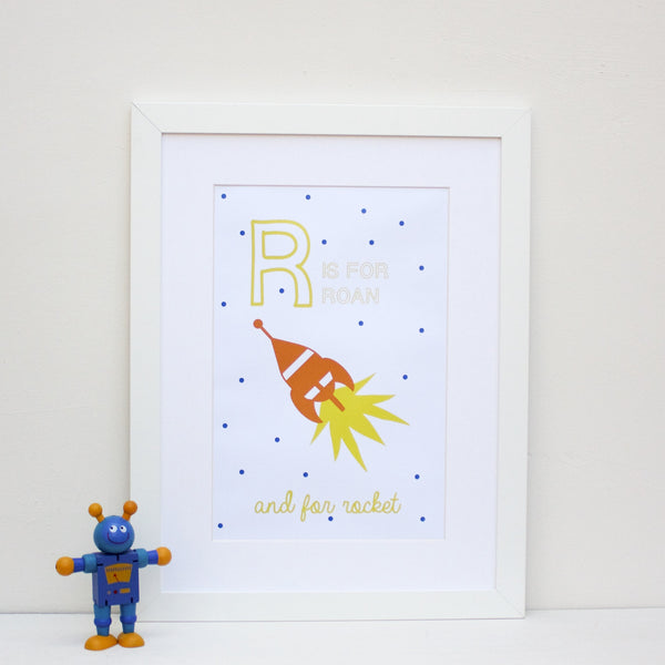 Rocket Personalised Alphabet Name Print