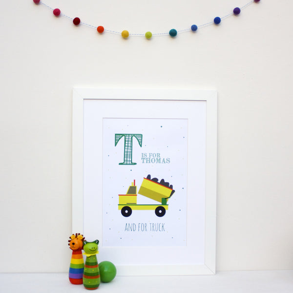 Truck Personalised Alphabet Name Print
